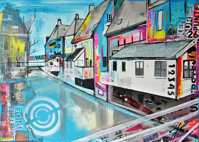 hangende keuken Appingedam schilderij uniek en origineel mixed media