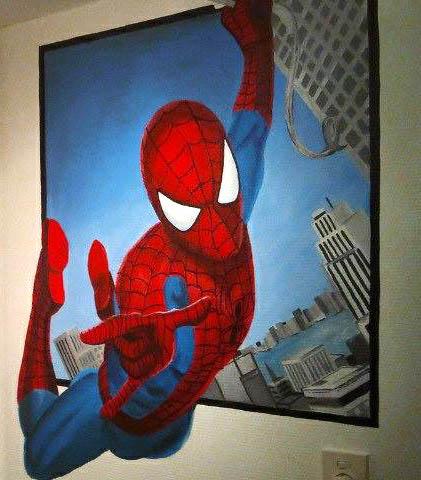 Spiderman muurschildering jongenskamer meisjeskamer muurschildering laten maken voor bedrijf kinderkamer babykamer omgeving Groningen Drenthe Friesland Hoogeveen Janet Edens