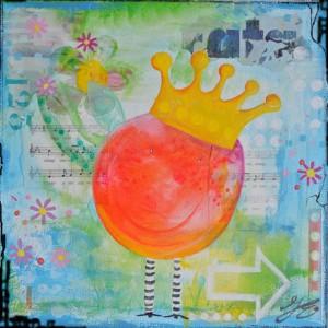 Geboortekaart muzieknoten kleur kunst mixed media op doek www.janetedens.nl