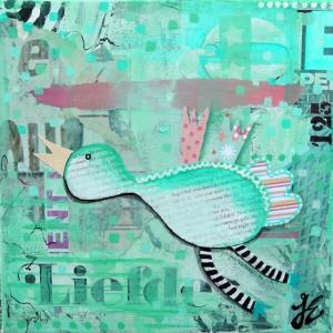 Geboortekaart mint kunst kleur acryl en mixed media op doek www.janetedens.nl