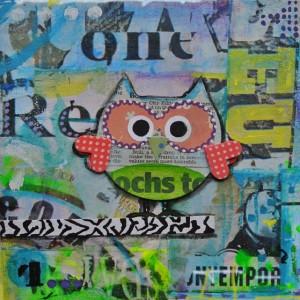 Geboortekaart graffiti uil hippe hip blauw groen rood patronen retro vrolijk kunst schilderij mixed media www.janetedens.nl