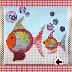 Geboortekaart kunst kleur acryl en mixed media op papier www.janetedens.nl