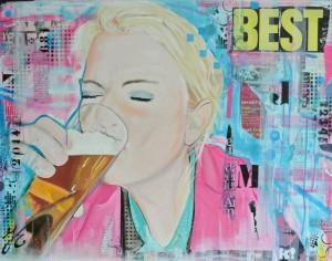gezellig portret, 70x90 cm, ©20,15 acryl en mixed media op doek