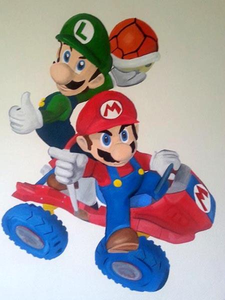 Mario Brothers muurschildering jongenskamer muurschildering laten maken voor bedrijf kinderkamer babykamer omgeving Groningen Drenthe Friesland Hoogeveen Janet Edens