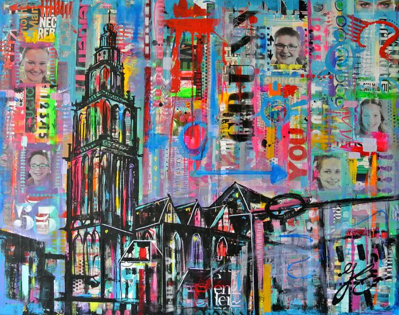 werk in opdracht schilderij laten maken uniek en betaalbaar kleurrijk Janet Edens Martinitoren Groningen