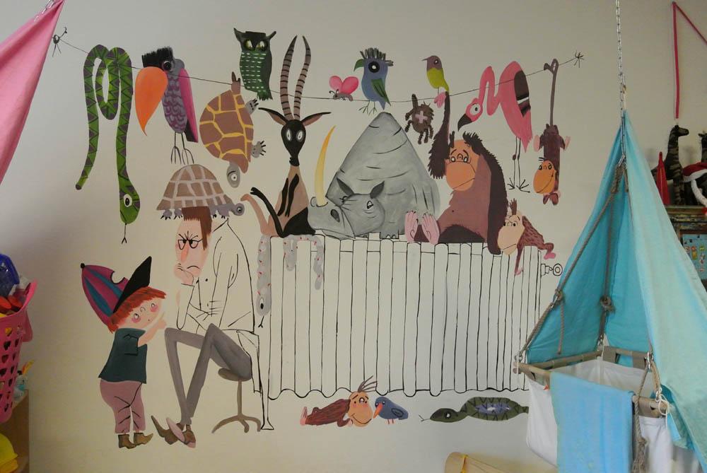 Pluk redt de dieren muurschildering muurschildering laten maken voor bedrijf kinderkamer babykamer omgeving Groningen Drenthe Friesland Hoogeveen Janet Edens