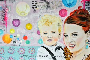 Portretten acryl en mixed media kleurrijk groningen