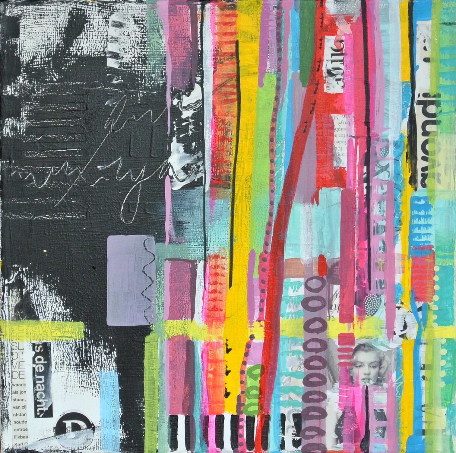 trouwkaart kunstkaart janet edens ook op maat gemaakt mixed media janet edens