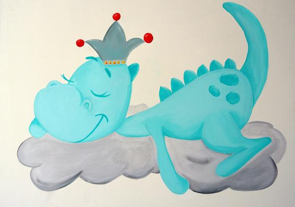 draakje Dirk muurschildering muurschildering laten maken voor bedrijf kinderkamer babykamer omgeving Groningen Drenthe Friesland Hoogeveen Janet Edens