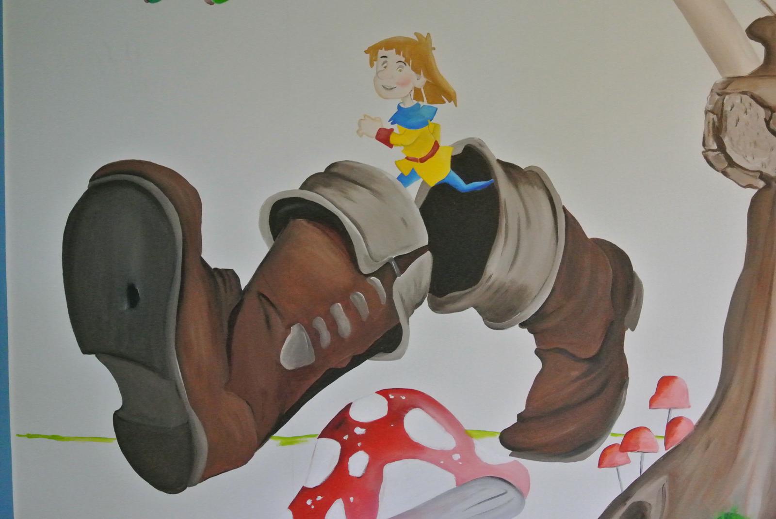 kleinduimpje muurschildering muurschildering laten maken voor bedrijf kinderkamer babykamer omgeving Groningen Drenthe Friesland Hoogeveen Janet Edens
