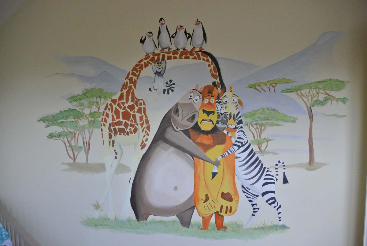 madagascar muurschildering Janet Edens muurschildering laten maken kinderkamer babykamer omgeving Groningen Drenthe Friesland