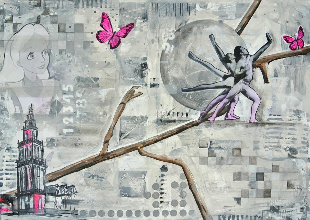 werk in opdracht schilderij laten maken uniek en betaalbaar kleurrijk Janet Edens omslag proefschrift in opdracht
