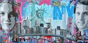 portret schilderij laten maken in opdracht betaalbare kunst kleur blauw new york janet edens