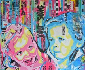 Portret kinderen in pop art stijl