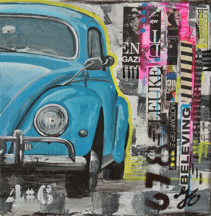 schilderij kever beagle auto www.janetedens.nl