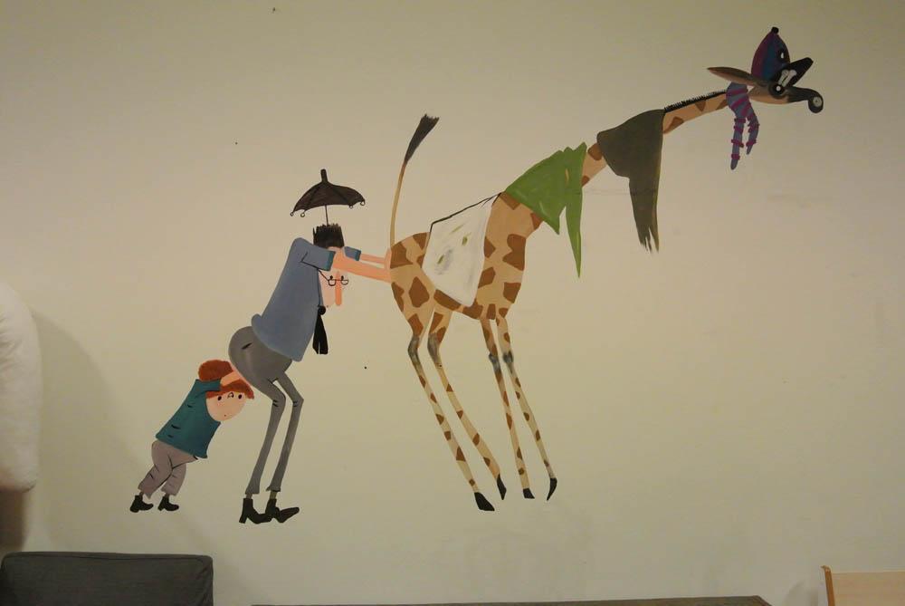 muurschildering Pluk redt de dieren Pluk van de Petteflet muurschildering laten maken voor bedrijf kinderkamer babykamer omgeving Groningen Drenthe Friesland Hoogeveen Janet Edens