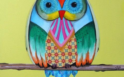 uil geel groen rood blauw turquoise roze hip schilderij kopen