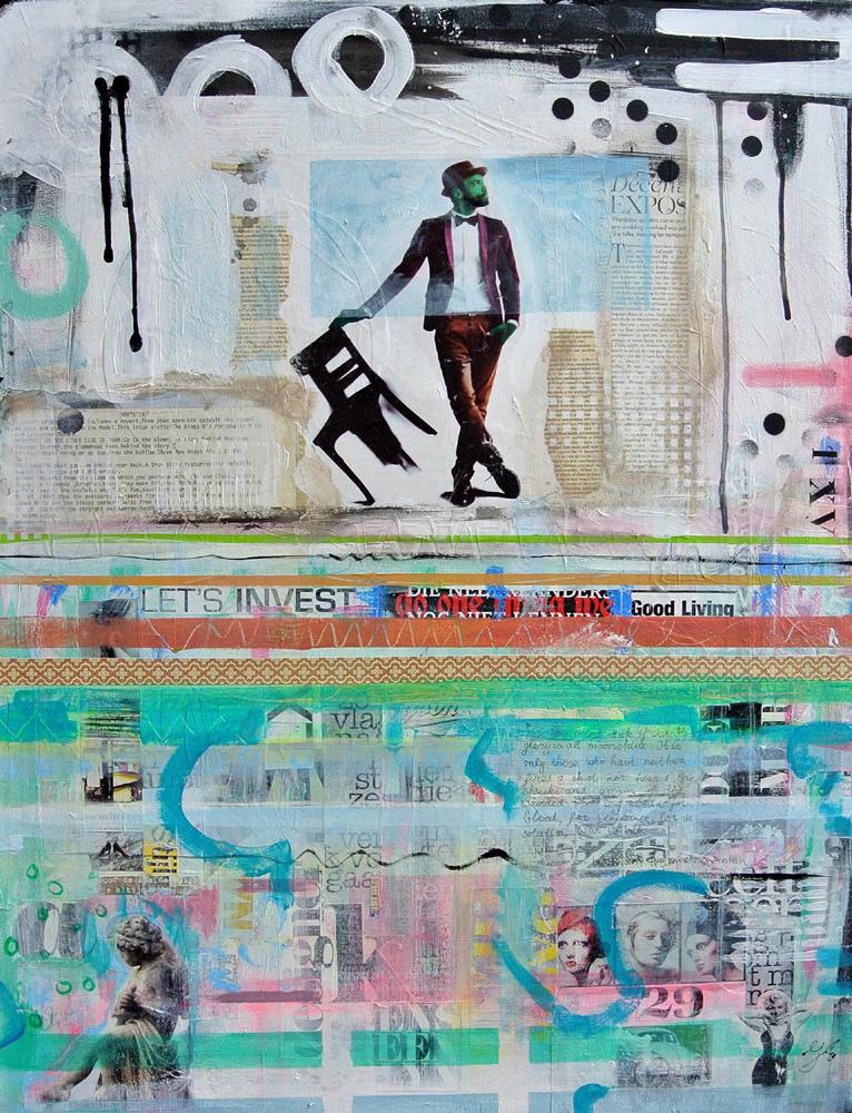 betaalbare kunst kunstwerk schilderij mixed media collage acryl typografie