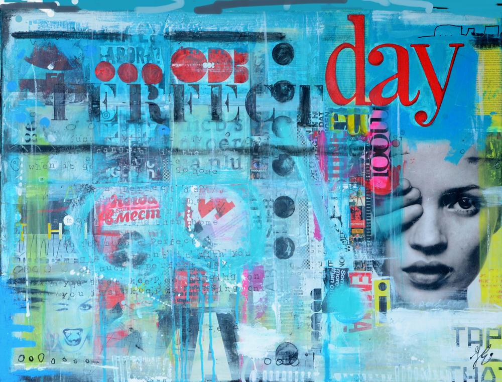 mixed media collage schilderij betaalbaar kunstwerk kunt Janet Edens
