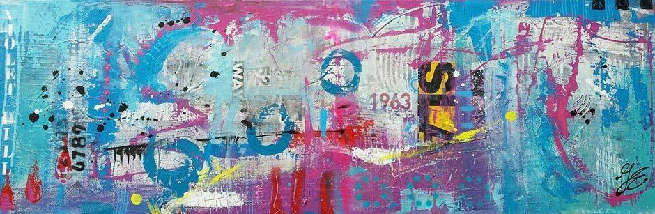 betaalbare kleurrijke kunst kunstwerk schilderij acryl en mixed media Janet Edens