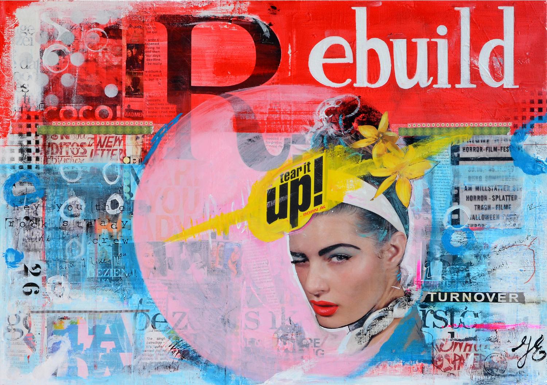 collage mixed media betaalbare hippe moderne kunst schilderij kunstwerk