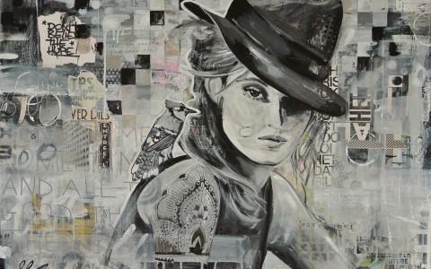 mixed media schilderij zwart wit hip modern betaalbaar janet edens
