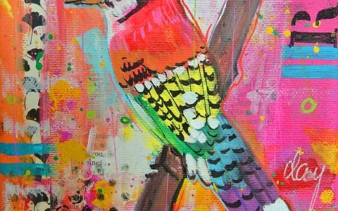 mixed media kleurrijke dieren vogel schilderijtje