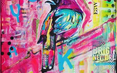 kleurrijke vrolijke mixed media schilderijen