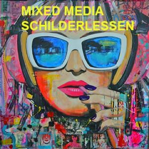 mixed media schilderlessen Groningen Janet Edens