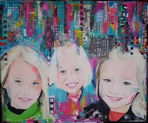 portret laten schilderen kinderen gezin popart stijl acryl en mixed media achtergronden kleurrijk