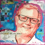 portret laten schilderen popartstijl kleurrijk acryl en mixed media