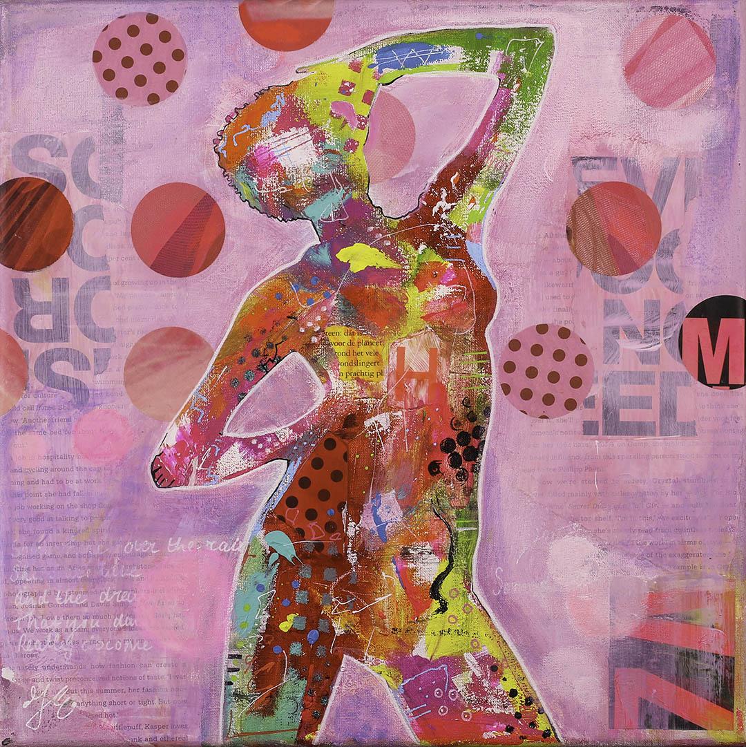 vrouw-roze-schilderij-betaalbaar-janetedens
