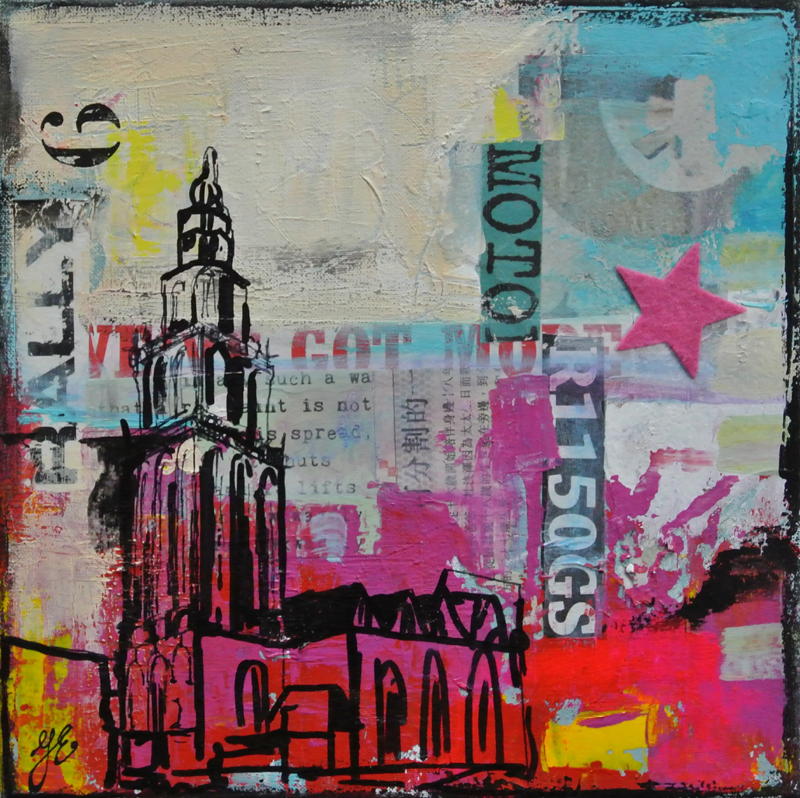 schilderij van de Martinitoren Groningen Janet Edens kleurrijk origineel uniek mixed media ook in opdracht mogelijk wensen bespreekbaar Janet Edens