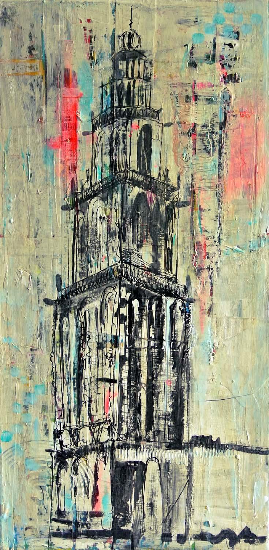 schilderij Martinitoren Groningen ook voor opdrachten in opdracht