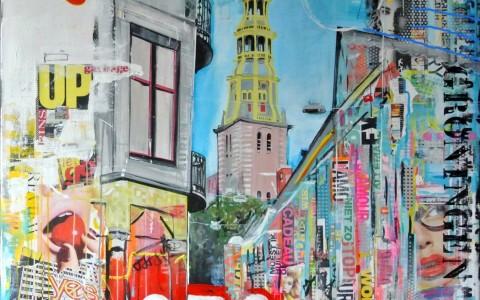 Groningen A-kerk acryl en mixed media op linnen