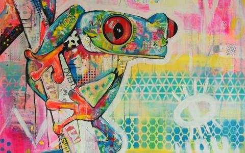 kikker kleurrijk schilderij mixed media zijkanten meegeschilderd